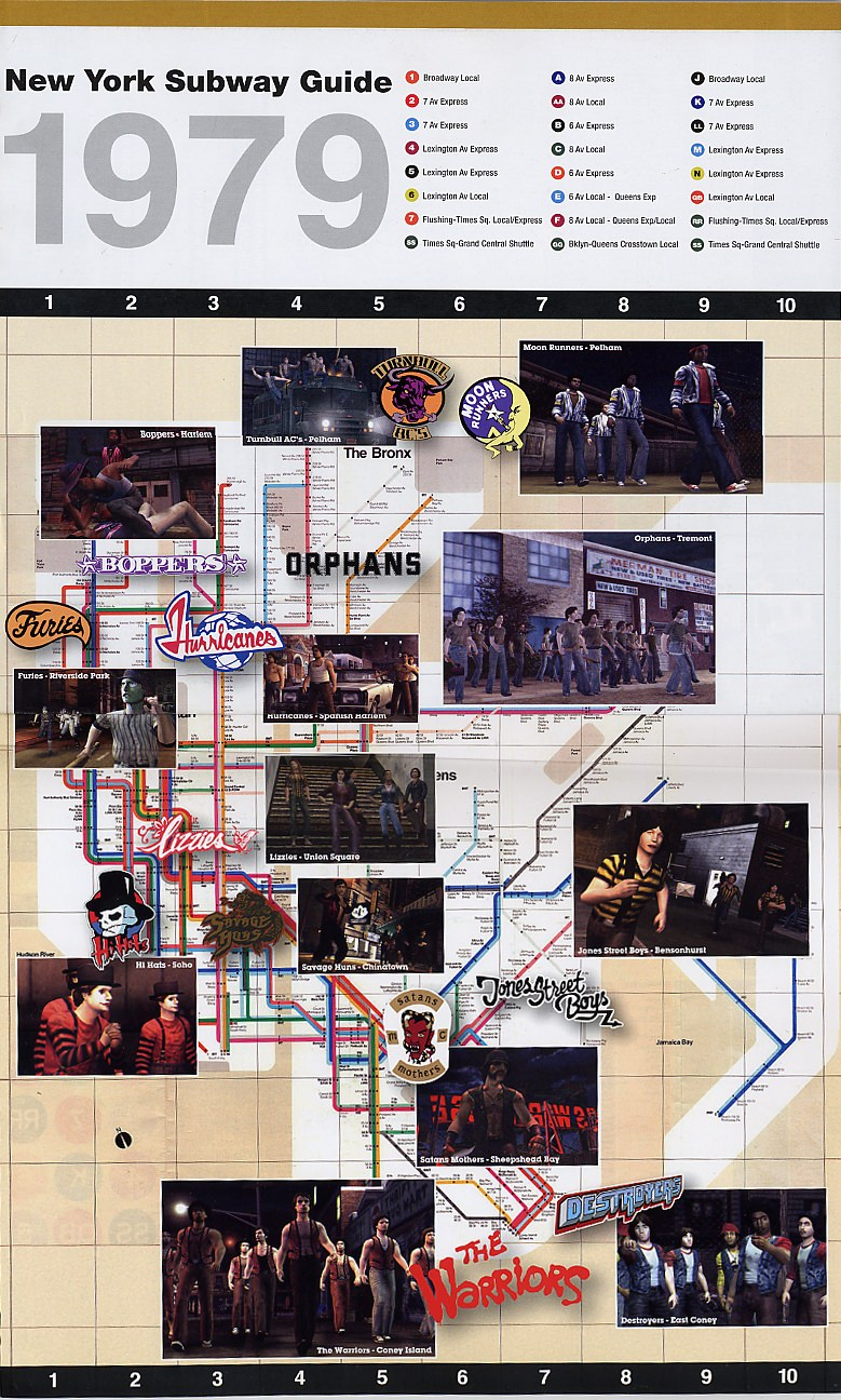 The Warriors Movie Site - Subway Gang Map